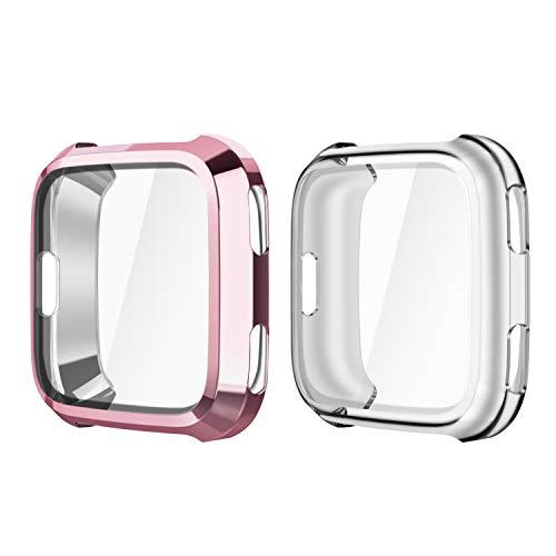 Fintie Hülle kompatibel für Fitbit Versa Gesundheits- & Fitness Smartwatch - [2 Stück] Ultra-Dünn Leichte Hochwertige Polycarbonat Harte Schutz Gehaüse Abdeckung, Roségold/Transparent