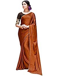 Shaily Retails Women's Brown Satin Silk Lace Bordered Sarees (SALONI1062SSSR01_Brown)