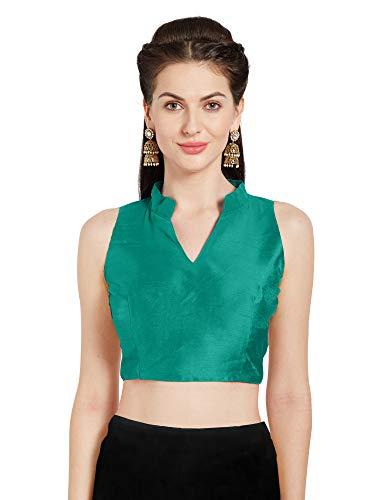 Teal Saree (Mirchi Fashion Damen Teal Art Seide Readymade Party Saree Bluse Chinesisch Kragen ärmellos Choli Top)