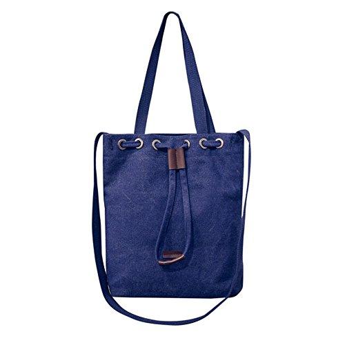 Longra Donna Sacchetto della benna della tela di canapa di modo Blu
