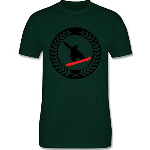 Wintersport - Snowboard Sichel Kranz - Herren Premium T-Shirt Dunkelgrün
