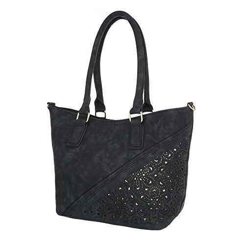 Damen Schultertasche Handtasche Used Optik Beige Schwarz Blau Elfenbein Grau Rot Weiß Schwarz