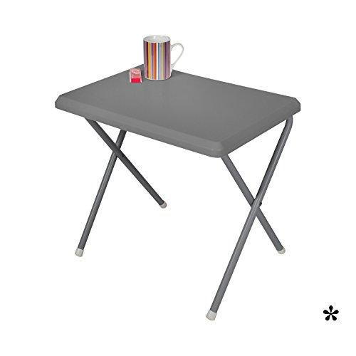 Klapptisch grau aus widerstandsfähigem Kunststoff 51x37cm • Campingtisch Gartentisch Koffertisch...