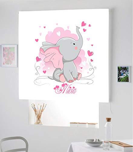 Desconocido Estor Infantil Enrollable TRANSLUCIDO Digital Elefante Alicia para Poner TU Nombre¡¡Nuevo Estor Enrollable Infantil con Nombre A Todo Color HABITACION NIÑAS (Rosa, 130X180)