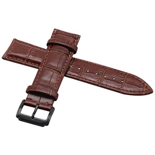 autulet Mode Premium-Lederarmbänder braun 24mm schwarz Schnalle