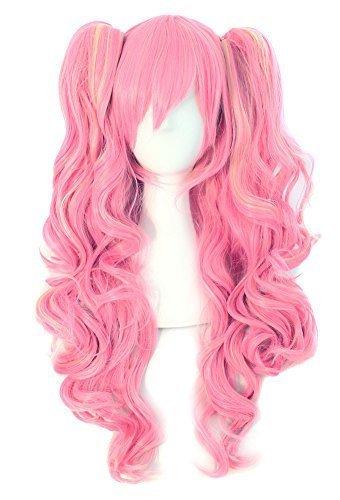 Perücken Pferdeschwanz (MapofBeauty farbige Lolita lange lockige geheftet auf Pferdeschwanz Cosplay Perücke (rosa/)