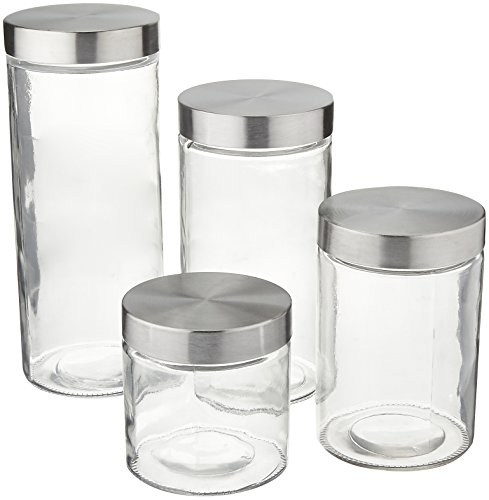 Anchor Hocking Callista 4 Piece Glass Canister Set with Stainless Steel Lids Anchor Hocking-set