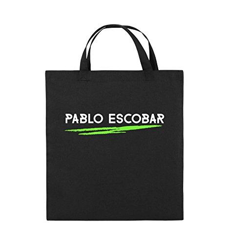 Borse Comiche - Pablo Escobar - Narcos - Borsa Di Juta - Manico Corto - 38x42cm - Colore: Nero / Bianco-neon Verde Nero / Bianco-neon Verde