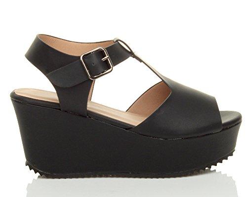 Femmes talon haut compensée salomé boucle plateforme ouvert sandales pointure Noir
