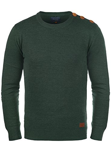 Blend Louis Herren Strickpullover Feinstrick Pullover Mit Rundhals Und Schulter-Knopfleiste, Größe:L, Farbe:Pine Green (77023) (Bekleidung Green Pine)