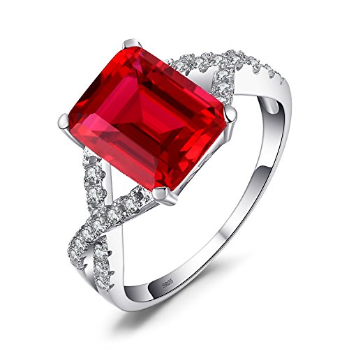 JewelryPalace Emerald Cut 4.6ct Erstellt Red Ruby Promise Ring 925 Sterling Silber (Diamant-ring Emerald-cut)