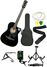 Jixing JXNG 6 Strings Acoustic Guitars Right Handed With Combo ( Black )