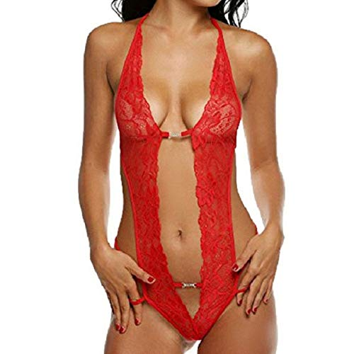 Jimmackey Babydoll, Donna Pizzo Aperto Lingerie Hollow Halter Tuta Intimo Sexy (Rosso, 2XL)