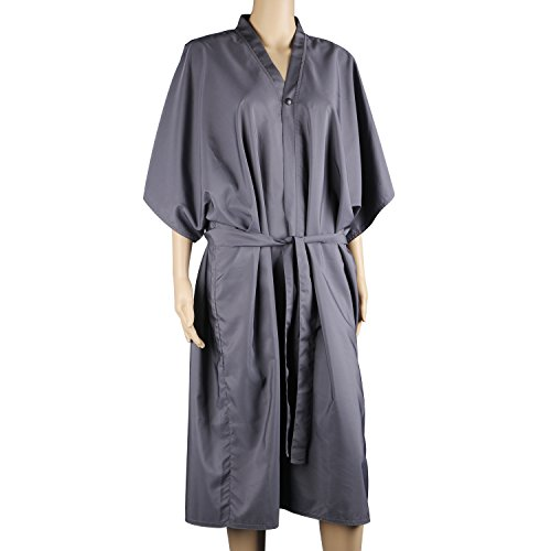 Segbeauty® Gris Traje de Masaje Spa Mitad Mangas, Impermeable Salón del Kimono Traje de Cliente para Mujer, Vestido de Peluquería Shampoo Delantal Maquillaje Vestido de Laboratorio
