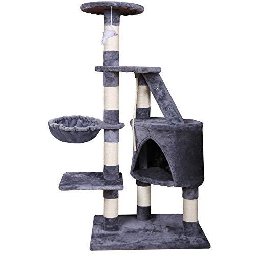 mc star tiragraffi albero di gatti con graffiatoio gatto giocattolo in sisal naturale altezza 120cm grigio