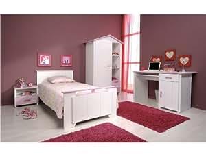 """Chambre Enfant Complete Armoire + Lit + Chevet + Bureau """"Lea Rose 2"""""""