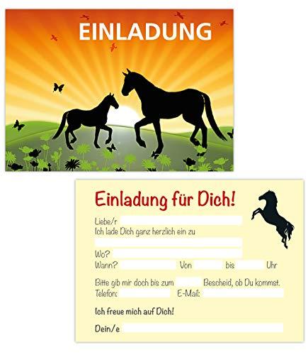 15er Kartenset Einladungskarten Kindergeburtstag Mädchen, Pferde Geburtstags-Party, Einladungen Pony, Reiterhof