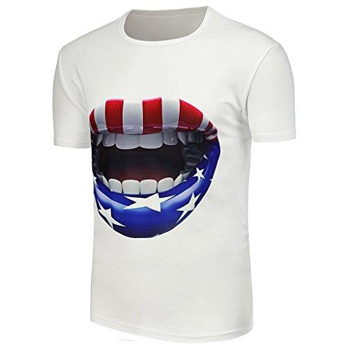 Gazechimp Mann Sommer T-Shirt shirt T-Stück basic Kurzarm aus Baumwolle lip print