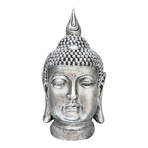 Buddha dasmöbelwerk XXL Deko Kopf Figur Feng Shui wetterfest frostfrei Gartenfigur S082 Antik Silber