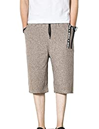 YuanDiann Hommes été Décontracté Plus Size Capri Shorts en Coton Lin  Pantacourt Loose Fit Large Jambe élastique Taille Cordon 3 4… 334e323ebd5