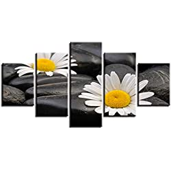 FJKYF 100×55cm Embellecer 5 Piezas de Flores de Piedra HD Imprimir Lienzo Pintura para Sala de Estar decoración del hogar pequeña Margarita Cuadros modulares Carteles de Pared