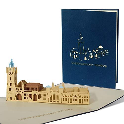 Grußkarte Hamburger Landungsbrücken, Reisegutschein, Hafen, Geburtstag, Souvenir A40