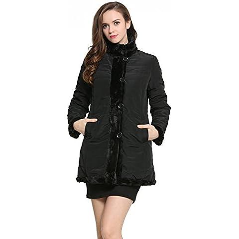 Ovonzo delle nuove donne di inverno Faux Fur Coat reversibile con collare del basamento