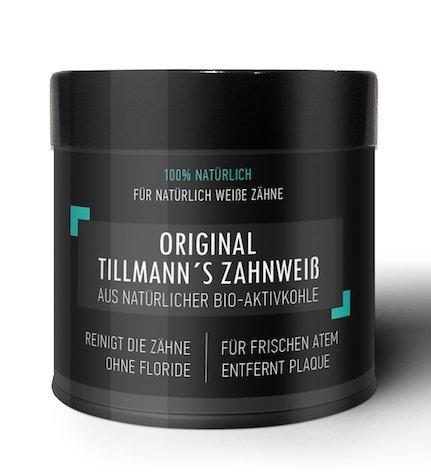 Natürliche Premium Kokosnuss Aktivkohle zur Zahnaufhellung von Tillmann Zahnbleaching 100% REIN ohne schädliche Zusatzstoffe | vegan | Activated Charcoal