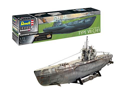 Revell 5163 1:72 Platinum (Limited Edition) Plastic Model Kit 05163 German Submarine Type VII C/41, Mehrfarbig, 1/72 -