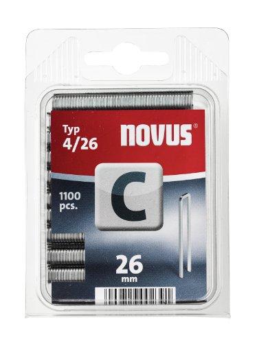 Novus Schmalrückenklammern 26 mm, 1100 Stück, Klarsicht-Verpackung, Typ C4/26, Heftmittel für Profilhölzer und Paneele