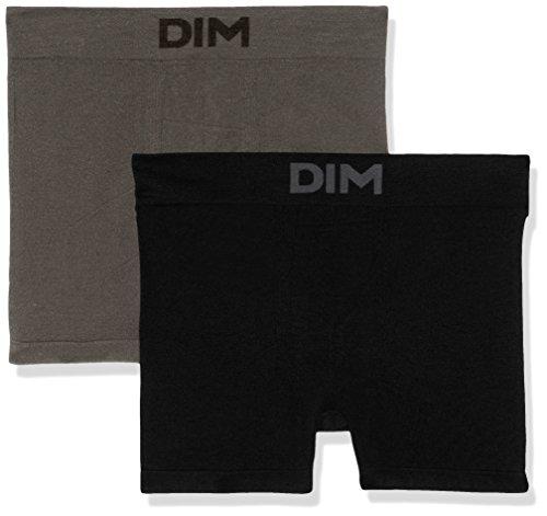 Unno DIM Basic Bóxer, Negro/Gris Foncé 3B7, Large (Talla del Fabricante: 4) (Pack de 2 para Hombre