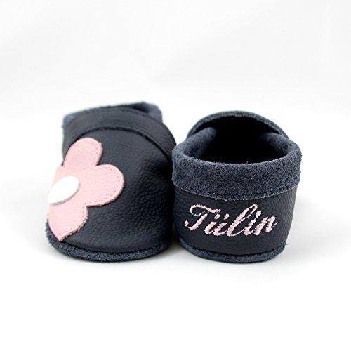 little foot company® 3312 Krabbelschuhe Babyschuhe Lauflernschuhe mit Namensstickerei Blume weiches Leder marine 18/19 ca. 9-16 Monate (Weiche Blumen Leder-schuhe)