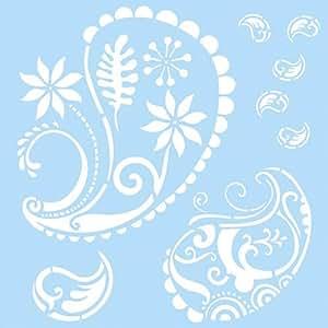 Marabu pochoir 33 x 33 cm, motif cachemire flowered