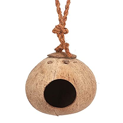 VWH Natural Coconut Shell Bird House Nesting Hut For Pet Parrot Budgie Parakeet Cockatiel Canary Finch Pigeon Hamster… 1