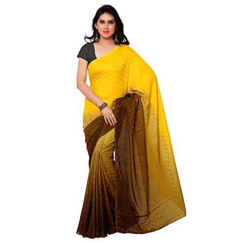 GL Sarees Casual Plain Solid Yellow And Brown Crepe Buti Work Saree For Women