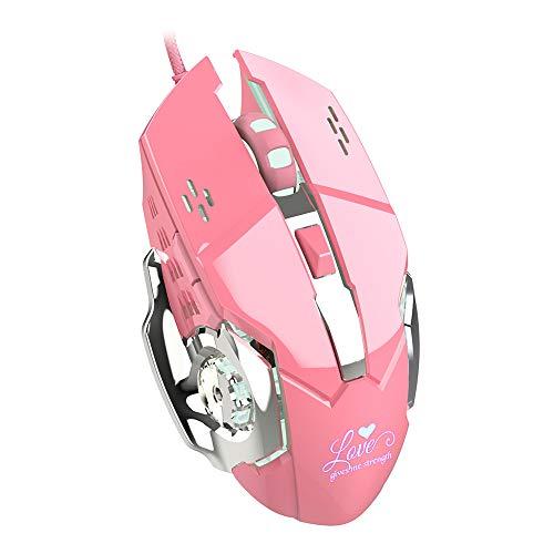 Lee Lam Gaming-Maus, Ergonomie-Mädchen-Rosa-heißes RGB-Spiel verdrahtete Maus Blenden Sie die helle optische Maus, die für Gamer und Schreibkräfte verwendbar ist