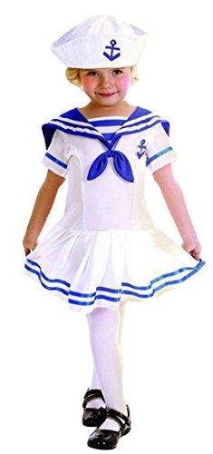 erdbeerloft - Mädchen Matrosen Karneval Kostüm- Matrosin Segler Schiffahrt, blau weiß, 2-4, (Matrose Kleinkind Kostüm Mädchen)