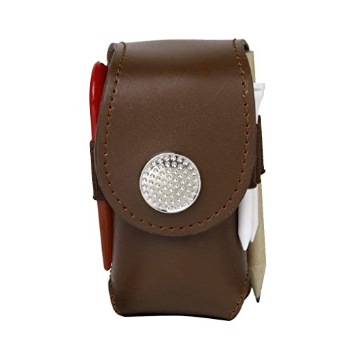 Electomania® Mini Portable Leather Clip On Golf Ball Holder Pouch Bag (Brown)