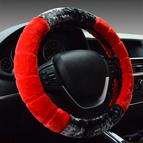 Couverture de volant de voiture peluche courte avec hiver, taille universelle 35-40CM / 13.7-15.7 pouces (Color : A4-39-40cm)