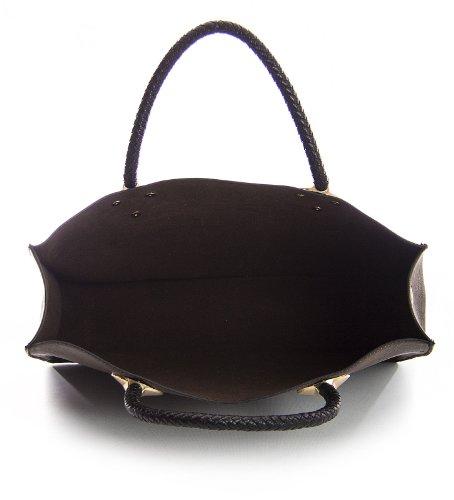 Big Handbag Shop Damen Designereinkauftstasche mit Obergriff mehrfachstrukturiert 2 in 1 Dunkelgrün