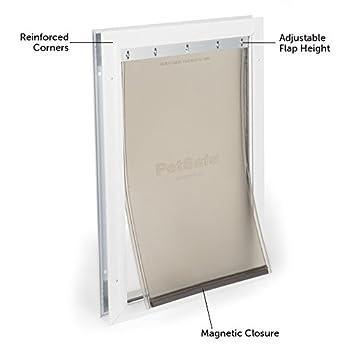PetSafe - Grande Chatière Staywell en Aluminium, Robuste pour Chien Grande Taille avec Système de Verrouillage (4,5x32,9x50,3cm)- Facile à Installer, Isolante, Battant Souple et aimanté, S/M/L/XL