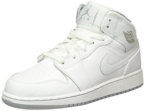 Nike Jungen Air Jordan 1 Mid BG Turnschuhe, Weiß/Grau (White/White-Wolf Grey), 39 EU