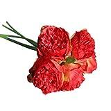Tagether Künstliche Seide gefälschte Blumen Pfingstrose Kunstblume Blumenstrauß Blumen-Bouquet Bridal Bouquet Blume Hochzeit Home Party Dekoration Rosen Rebe Anlagen künstliche (Rot)