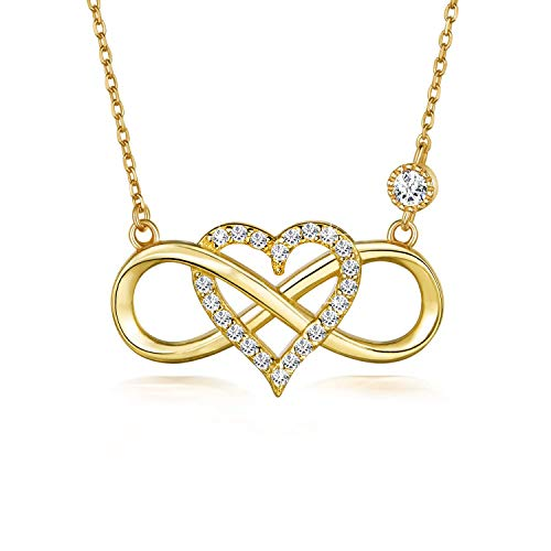 BlingGem Damen Kette aus 18 Karat Gelbgold vergoldet 925 Sterling Silber mit Rundschliff Zirkonia Unendlichkeit Herz Halskette Infinity Frauen,18 Inch