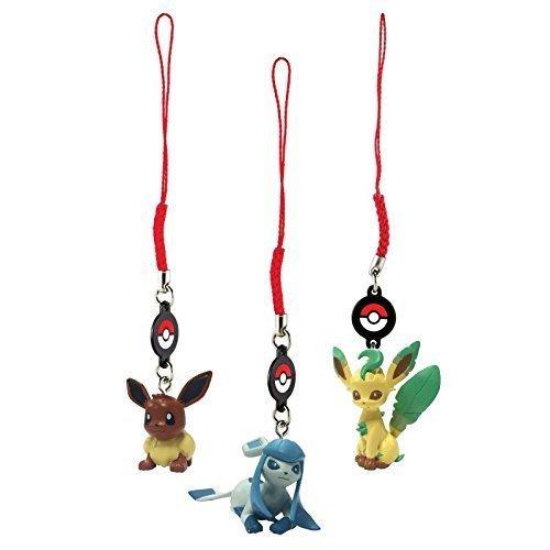 Pokemon 3er Set Schlüsselanhänger / Handyanhänger Pokemonfiguren aus Evolie – Entwicklungsstufen Evoli, Glaziola & Folipurba