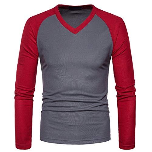 HOMEBABY Maglietta Uomo Top Manica Lunga Patchwork Scollo V Casuale Particolari Corte Tumblr T Shirt Camicetta Felpe Autunno