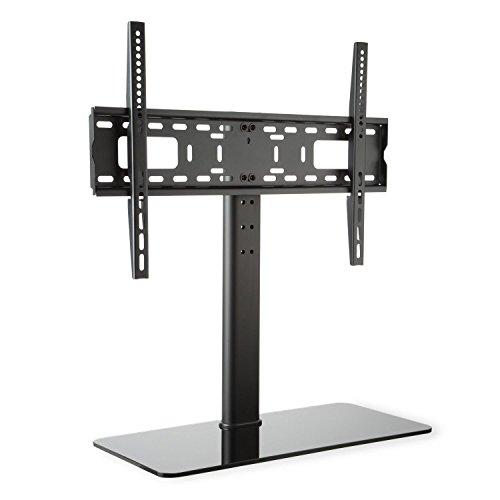 auna TV-Ständer Fernsehständer Fernsehtisch geeignet für Bildschirme mit Einer Diagonale von 23-55 Zoll, mit schwarzem Glas-Standfuß (Höhe 76 cm, höhenverstellbar in 3 Stufen, Größe L) Schwarz -