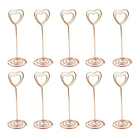 Forme de cœur Numéro de table Nom Place Carte photo Memo Clips support avec support pour fête de mariage Réunion dragées Decoration-10pcs rose gold