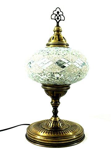 Handgefertigte Orientalisch Türkisch Asiatisch Mosaik Tisch Lampe Innenleuchte Nachttischlampe Beistelllampe Handarbeit Mosaik Glas Tischlampe Glasgröße 5 (Silber)