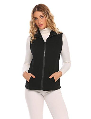 Ekouaer Damen Stehkragen Reißverschluss Vorne Gesteppt Gepolsterte Weste Fleece-Weste Anzug Ohne Arm Jacke (Kragen Weste Anzug Ohne)